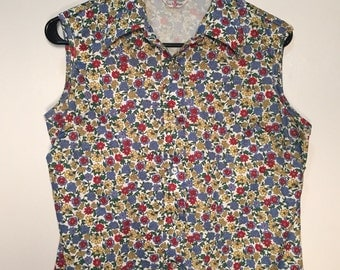 1970's Floral Polyester Sleevless Blouse by Sears /// FREE SHIPPING