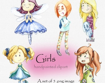Digital clipart, clip art, watercolor children, watercolor girl, cutegirls illustration, digital scrapbook, Children clipart
