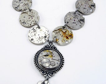 """Steampunk Necklace with Vintage Watch Movement, watch """"skeletons"""" and Fob Goth"""