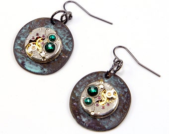 Valentines Sale! Use Coupon Code: TRUELOVE Steampunk Earrings Watch Movement Swarovski Crystals Excellent Goth
