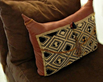 Brown Leather Pillow, African Fabric Throw Pillow, Rust Brown Couch Pillow, African Fabric, Home Decor
