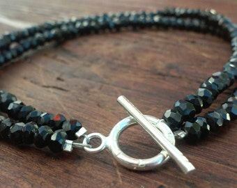 Black Spinel Bracelet with Sterling Silver Clasp