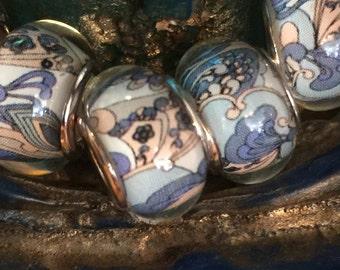 Murano glass beads, Blue White Pale Yellow, European Bracelet Big Hole Beads, 925 Silver European charm bracelets - 1 piece