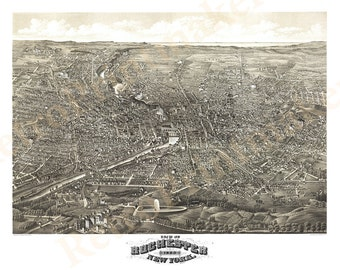 Rochester, Monroe County New York NY 1880. Fully repair. No printed ripped / black line. H.H. Rowley & Co. Vintage Reproduction map.  NY0074