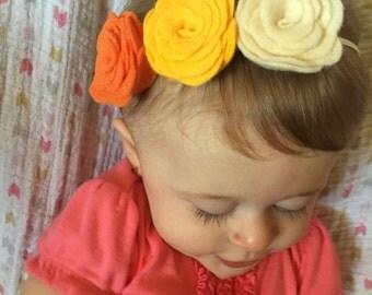 Felt Flower Headband, flower headband, Fall Colors, ivory,orange,yellow, baby, toddler headband