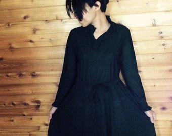Vintage dress, vintage black dress, black 1970's dress, retro black dress,