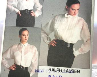 Vintage Vogue Sewing Pattern 2001, American Designer by Ralph Lauren, Size 14, Uncut, Plus size Ralph Lauren, 1980s Misses' Blouse Camisole