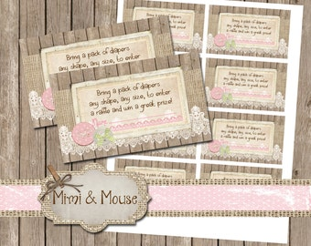 Rustic, Buttons, Diaper Raffle Ticket, 2x3, Lace, Instant Download