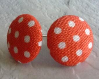 Orange and white polka dot fabric stud earrings