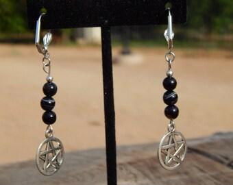 Botswana Agate Earrings with Pentagram