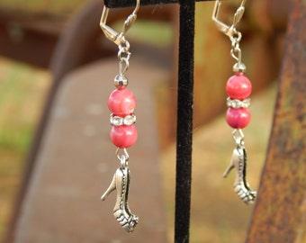 Bling Pretty In Pink Shoe Earrings