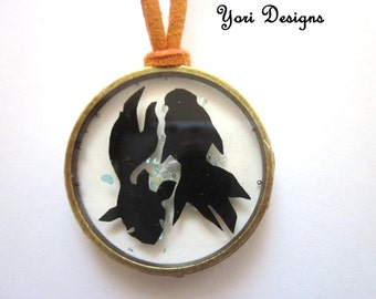 Fish Papercut Resin Pendant necklace