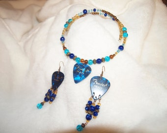Guitar Pick Necklace and Earrings