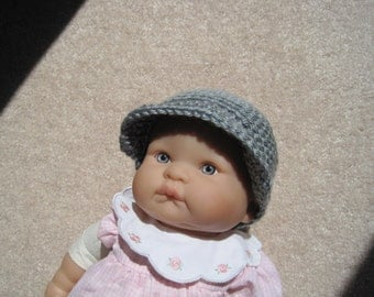 Crochet Baby hat with newsboy brim, gray, fits 0 to 3 mos.