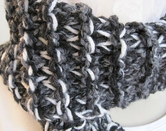 "Crochet Scarf, black, gray and white, 48"" x 7"""