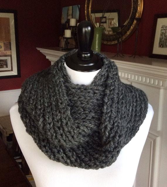Items similar to SCARF -- Small Chunky Rib Knit Infinity ...