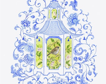 Blue Porcelain Tea House Giclee Print