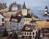 American Folk Art Print - New England Seaside Village - Print of Acrylic on Canvas Painting  8X10  11X14  16X20 - Country Wall Art
