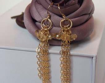 14K Gold Filled Earrings with Citrine Gemstones, 14K Gold Filled Ear Wires and Chain