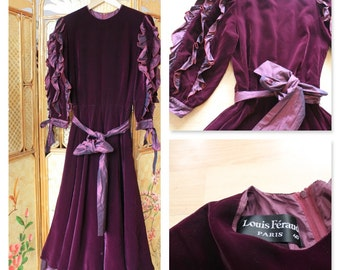 SALE Louis Feraud plum velvet evening dress