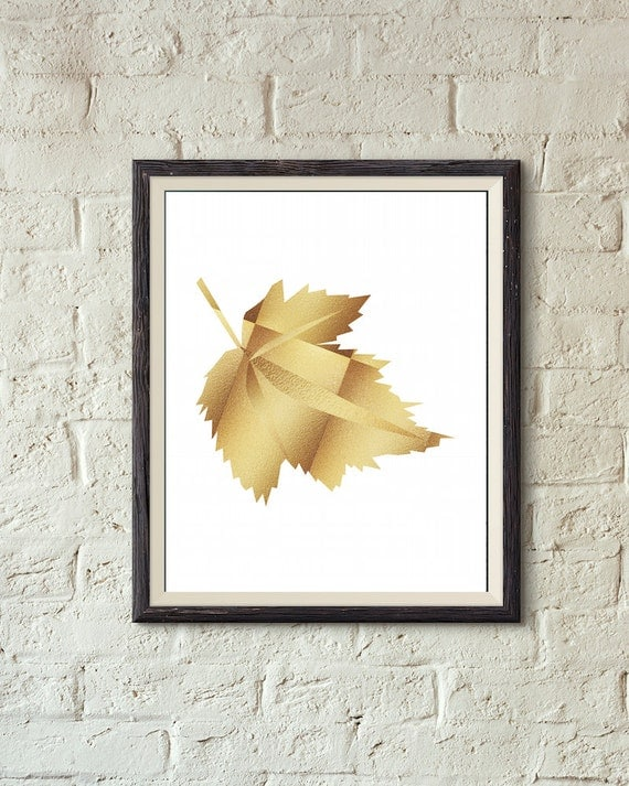 Fall decor leaf printable wall art gold autumn leaf by for Leaf wall decor