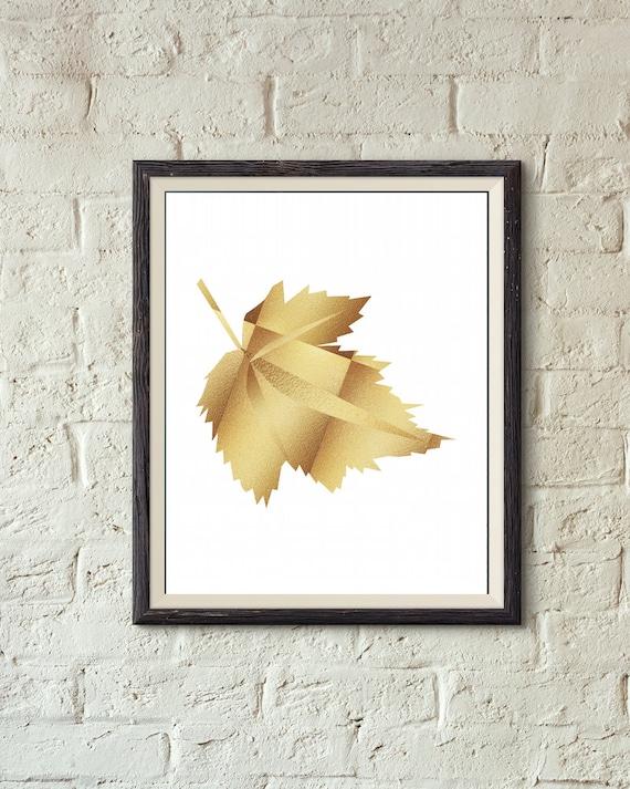 Leaf Wall Decor Fall Decor Leaf Printable Wall Art Gold Autumn Leaf By