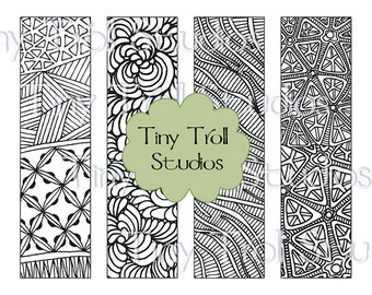 zentangle mandala bookmarks set of 4 to print and color