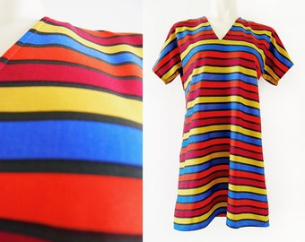 Brightly coloured striped Finnish vintage mini dress, size EU 40 / UK 12 / US 10
