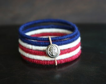 Patriotic Woven Bangle Bracelet Set with Silver Accent
