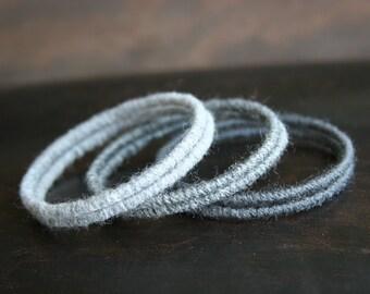 Ombre Gray Woven Bangle Bracelet Set of 6