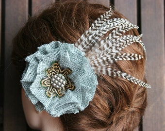 Gray Burlap Hair Flower with beautiful natural feather accents