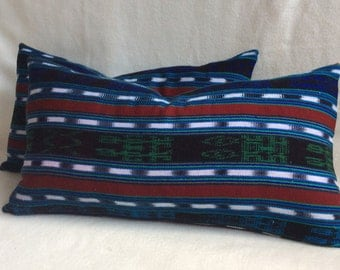 Ethnic Guatemalan Pillow Cover Pair  Blue/Green/Red