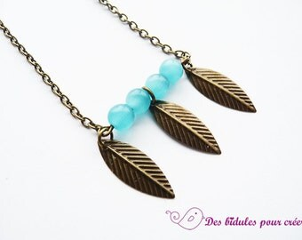 Kit DIY necklace with blue beads and leafs
