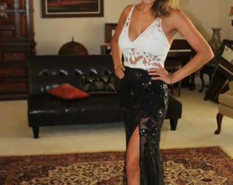 Long black and white lace evening dress.