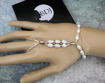 Freshwater Pearls Bracelet Ring Combo, Slave Bracelet, Hand Jewelry