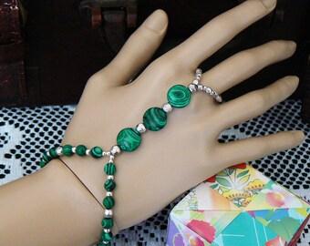 Malachite Beaded gemstone Bracelet Ring Combo, Slave Bracelet, Hand Jewelry, Teal and Black stones