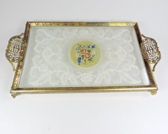 Petit Point Vanity Tray, Embroidered, Filigree Handles, Lace, Glass Tray