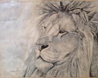 The lion king 4 unique piece oil tempera on canvas painting