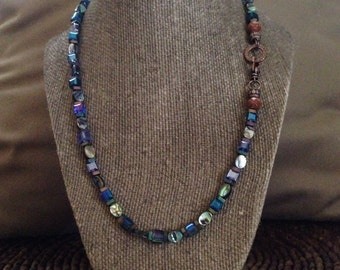 Abalone and crystal strand necklace