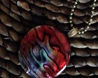 Abalone and antique brass pendant necklace