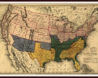 Confederate Decor Etsy - Rustic map of the us in the civil war