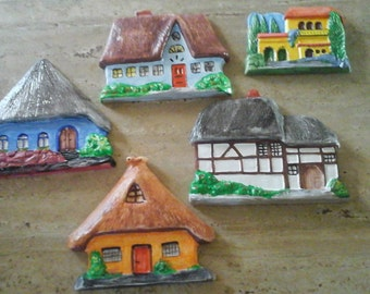 wall decor, European houses, set of 5