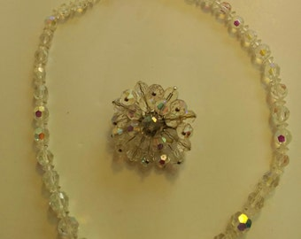 Vintage Aurora Borealis Crystal effect necklace and brooch