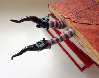Wicked witch bookmark, Witch legs with pointy shoes