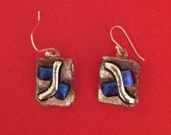 Fused dichroic glass earrings, kiln fired
