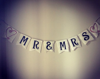 Burlap Mr & Mrs banner