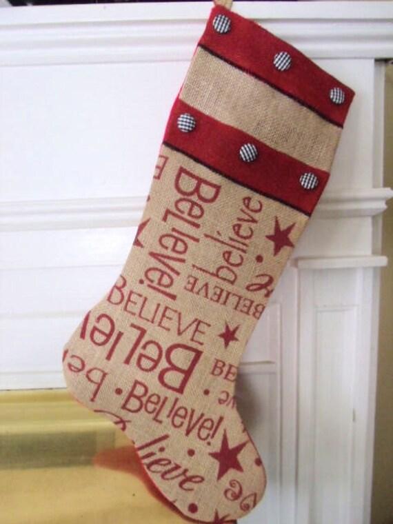 Burlap christmas stocking extra large natural printed