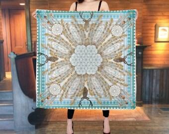 Silk altar cloth, Yule altar cloth, pagan wheel of the year Winter Solstice, 3 by 3 feet, silk scarf, flower of life, tarot cloth, wiccan