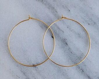 """0.75"""" 1.5"""" Gold / Simple Gold Hoop Earrings, Thin Hoop Earrings."""
