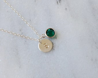 Silver Initial Birthstone Necklace Personalized, Birthstone Initials Charm Necklace, Personalized Birthstone Necklace, bridesmaid gifts.